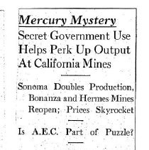 Image of Mercury Mystery, Secret Government use helps perk up output, 1952