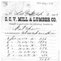 Image of receipt for lumber, 1889