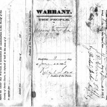 Image of Arrest warrant for disturbing the peace, 1873