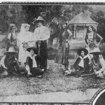 Image of Pretty Garbed Spanish Girls Blend with Almaden Scenery, 1929