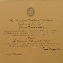 Image of Certificate of Membership, Thomas Chilton, AIA.