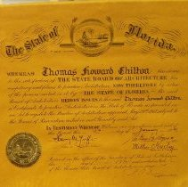 Image of Certificate, Florida Board of Architecture, Thomas Chilton.
