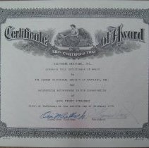 Image of Certificate of Achievement to the Jewish Historical Society of Maryland