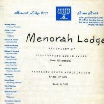 Image of 1995.128.005 - The B'nai B'rith Menorah Lodge #771