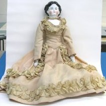 Image of Doll with china head, arms and legs, c.1880