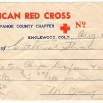 Image of Receipt, Catherine Stine from Red Cross, 1945