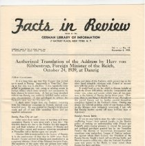 """Image of b) Newsletter, """"Facts in Review"""", 1939"""