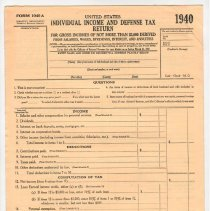 Image of Blank Income Tax Return, 1940