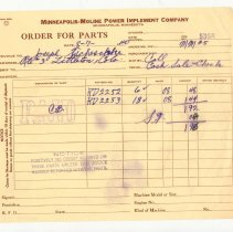 Image of Order form, Minneapolis-Moline, Tscheschke, 1940