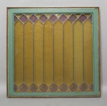Image of Leaded glass window, green frame, amber and amethyst colored glass; c.1900