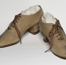 Image of Brown suede shoes with beadwork on toes; 1895