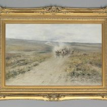 Image of Oil painting by Harvey Otis Young showing covered wagon and oxen; 1900
