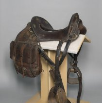 Image of McClellan cavalry saddle with wood stirrups; 1918