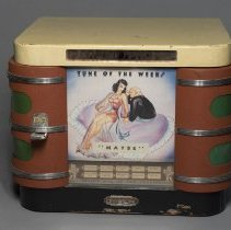 """Image of Penny Phono jukebox with tune of the week insert for """"Maybe""""; 1920"""
