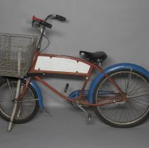 Image of U.S. Postal service bike with large wire basket; 1968