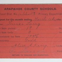 Image of Arapahoe County School report card for Louise Lang, red cardstock; 1894