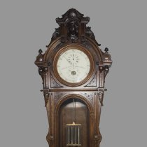 Image of Grandfather clock with mercury pendulum and three dials; c.1860