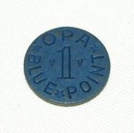 Image of Blue ration token, two sided, OPA; c.1943