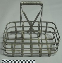 Image of Metal milk bottle carrier with six bottle capacity; c.1950
