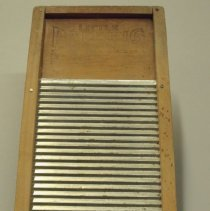 "Image of ""Little Darling"" washboard, wood frame, zinc rubbing surface."