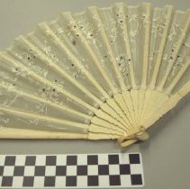 Image of White folding fan with ivory sticks, floral design on fabric.