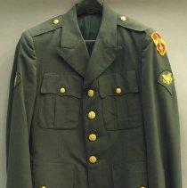 Image of Military Uniform; olive green polyester/wool blend dress uniform; c.1969.