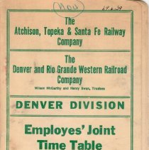 Image of Timetable; timetable for D&RG and AT&SF railroads; 1946.