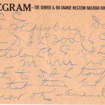 Image of Telegram; to: W.C. Cuthbert, regarding freight from Phippsburg; c.1932.