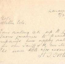 Image of Note; from: H.T. Foster, to: Agent, freight rates up to Laramie; 1932.