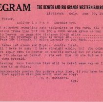 Image of Telegram; from: W.C. Cuthbert, to: H.T. Foster, rates for explosives; 1932.
