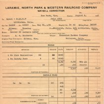 Image of Form; for freight travelling from Wolhurst, CO to Albany, WY; 1932.
