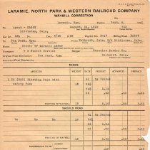 Image of Form; for freight travelling from Wolhurst, CO to Fox Park, WY; 1932.