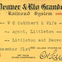 Image of Pass; for travel between Littleton and Denver, W.C. Cuthbert and wife;1909.