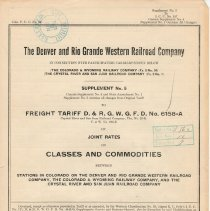 Image of List; Freight Tariff, joint rates on classes and commodities; 1925.