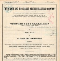 Image of List; Freight Tariff, joint rates on classes and commodities; 1923.