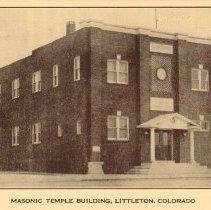 Image of Postcard; image showing Weston Masonic Lodge, Littleton, Colorado; c.1920.