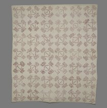 Image of Quilt with embroidered signatures, in red, of Littleton residents; 1925.