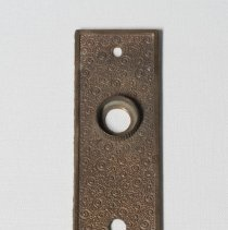 Image of Escutcheon; rectangular brass metal escutcheon; c.1900.