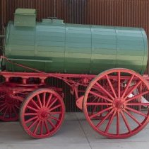 Image of Water wagon; fully restored green and red painted water wagon; c.1905.