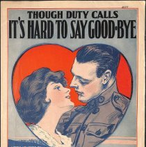 "Image of ""Though Duty Calls It's Hard to Say Good-Bye"" by W.R. Williams; 1917."