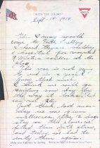 Image of World War I letter from Albin Johnson, September 1918