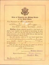 Image of Order of Induction into Military Service notice, June 1918