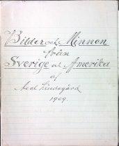 Image of Title page from Bilder och Minnen från Sverige och Amerika manuscript, 1909