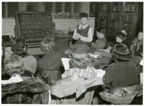 Image of Lilly Lorenzen teaching class in Swedish, ASI, 1949