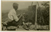 Image of Dewey Albinson painting outdoors, MN, 1940?