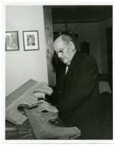 Image of Ulrich Steiner, woodcarver of some of the woodwork at ASI, 1950?