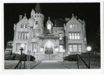 Image of Turnblad mansion at night, ca. 1990.