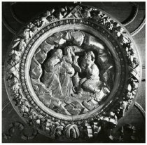 Image of Carved medallion, dining room fireplace, 1980?