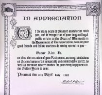 Image of Certificate upone retirement from Department of Transportation, 1980