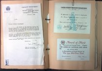 Image of Scrapbook, honors for Mrs. Mathilda Brodin's service, 1945, 1946, 1952
